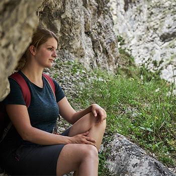 Silvia von Abenteuerzeilen Blog beim Wandern