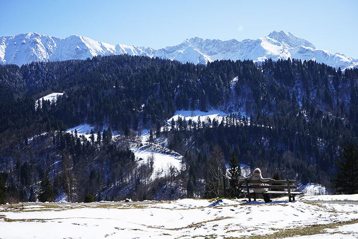 Bergpanorama im Winter am Tegernsee