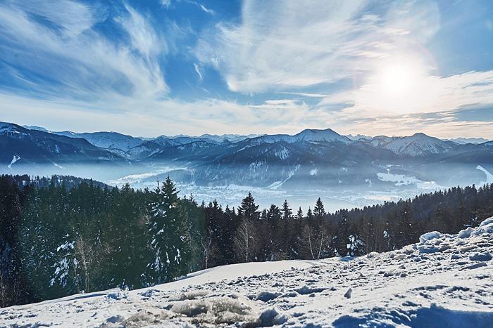 Panorama und Blick über den Schliersee im Winter
